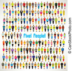 a large group of pixel people gather vector design