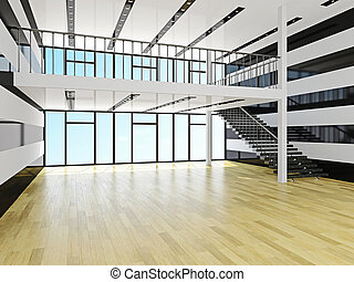 A large hall with staircase
