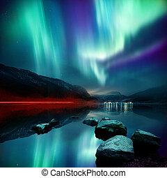 Northern Lights (aurora borealis) - A large Northern Lights...