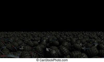 The camera flies through a multitude of battle grenades