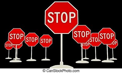 A large number of stop sign. Signs STOP. Video with alpha...