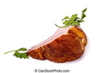 A large piece of fresh pork ham on white background