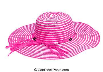 A large pink ladies hat