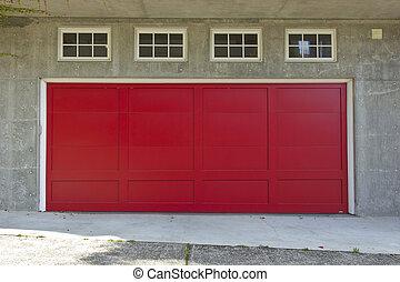 A large red garage door.