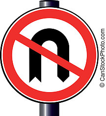 No U Turn - A large round red traffic sign displaying the No...