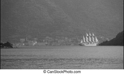 A large sailing ship, black and white film