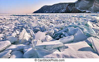 A large section of hummocks on ice of frozen lake Baikal