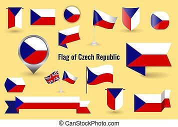 A large set of icons and signs with the flag of the Czech Republic.