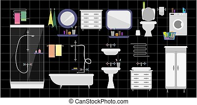 A large set of interior fittings for the toilet room and bathroom against a black tile
