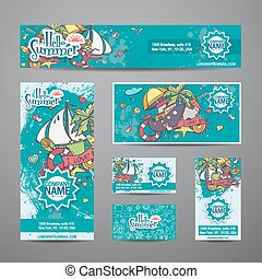 A large set of vector invitations with summer style