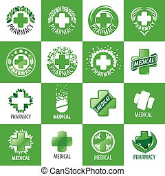 a large set of vector logos for medicine