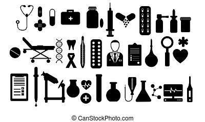 A large simple set of items on medical subjects, pills and tools of a doctor thermometers syringes flasks flasks medication on a white background. Vector illustration