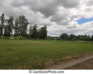 large soccer field with green grass in summer
