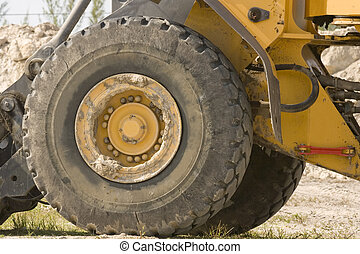 A large tire and wheel