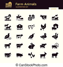 A large vector set of 25 farm and farm animal icons that are great for illustrations