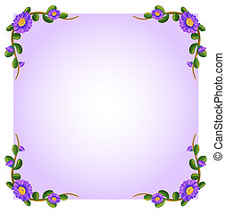 A lavender empty template with plant borders