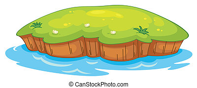 a lawn and water - illustration of a lawn and a water on a...