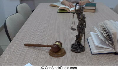 a lawyer in the workplace examines documents and legislation.