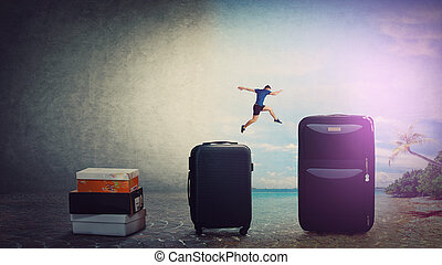 A leap back to summer. Confident young man traveler jumping over his luggage to get back to holiday. Tourist guy needs a vacation in an exotic destination far from workplace.