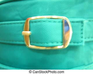 a leather bag with golden lock.