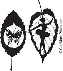 A leave with butterfly made in eps