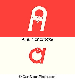 A - Letter abstract icon & hands logo design