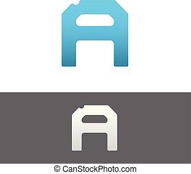 A Letter Alphabet Abstract vector text logo