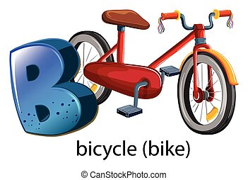 A letter B for bicycle on a white background