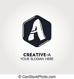 A Letter Business Logo Template With Isolated Black Hexagon Background And White Smooth Shape
