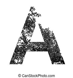 A letter double exposure with black and white leaves isolated on white background,clipping path