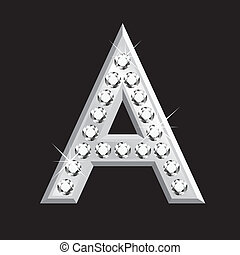 A letter in 3D with diamonds
