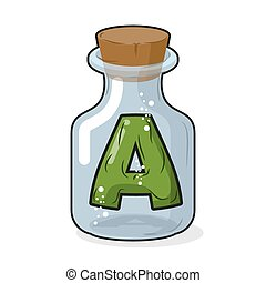 A letter in bottle for experiments. Letter in vessel. Laboratory research vessel. Vector illustration figure for chemical tests.