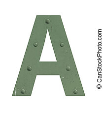 A letter in green metal