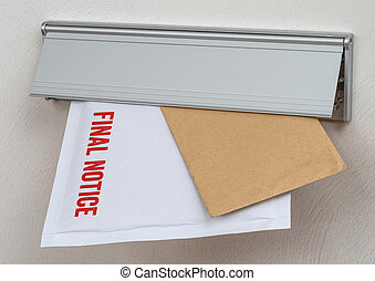 A letter labeled Final notice in a mail slot