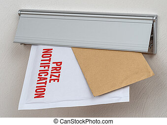 A letter labeled Prize notification in a mail slot