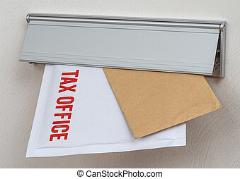 A letter labeled Tax office in a mail slot