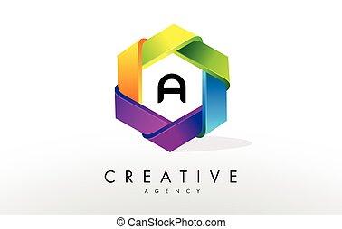 A Letter Logo. Corporate Hexagon Design