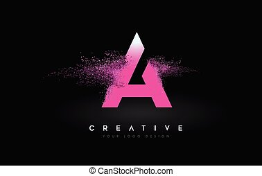 A Letter Logo with Dispersion Effect and Purple Pink Powder ...