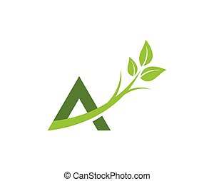A letter logo with green leaf