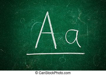 A letter on chalkboard