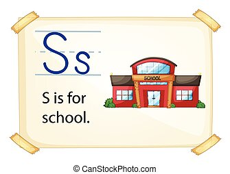 A letter S for school on a white background
