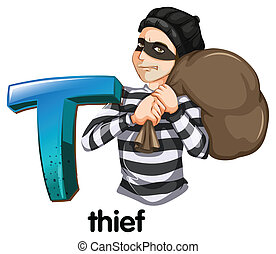 Illustration of a letter T for thief on a white background