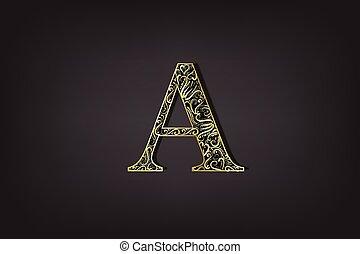 A letter vintage gold floral icon vector