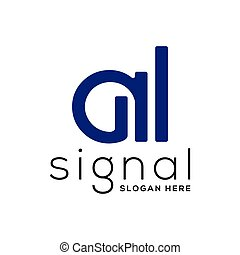 A letter with signal logo vector template