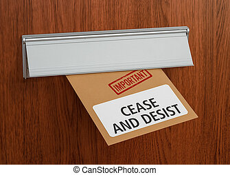 A letter with the label Cease and desist