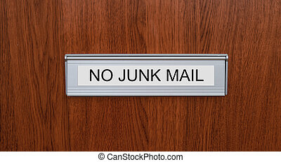A letterbox with the label No junk mail