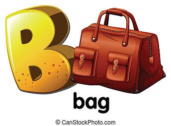 a, lettre b, pour, sac