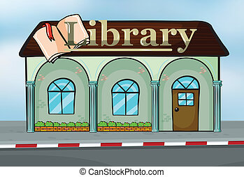 A library - Illustration of a library near the street