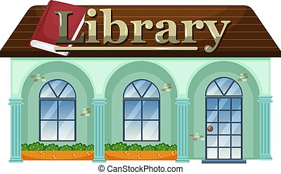 A library on white background