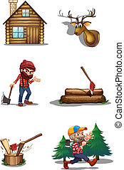 A life of a lumberjack - Illustration of a life of a...